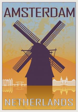 Amsterdam vintage poster in oranje en blauwe geweven achtergrond met skyline in het wit Stock Illustratie