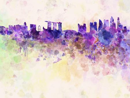 singapore skyline: Singapore skyline in watercolor background