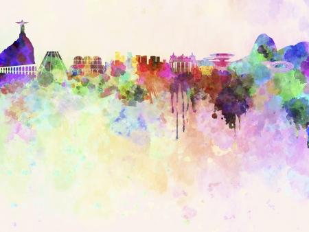 southamerica:  Rio de Janeiro skyline in watercolor background