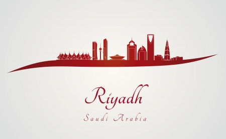 Riyadh skyline in red and gray background in editable vector file Vector