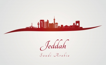 Jeddah skyline in red and gray background in editable vector file Vector