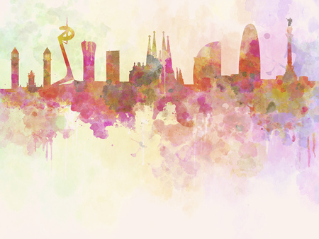 Barcelona skyline in watercolour background with clipping path Banco de Imagens