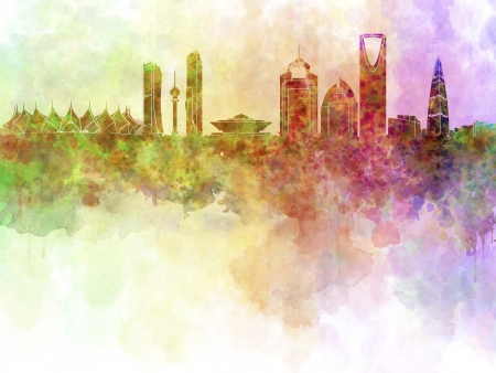 Riyadh skyline in watercolour background with clipping path photo
