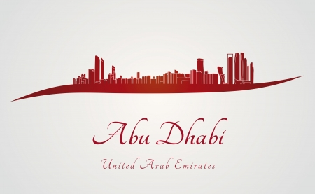 Abu Dhabi skyline in red and gray background in editable vector file Vector