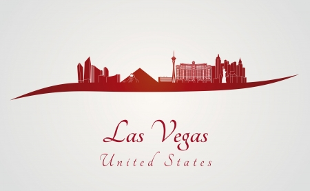 Las Vegas skyline in red and gray background in editable vector file Vector