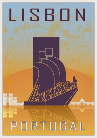 Lisbon vintage poster in orange and blue textured background with skyline in white