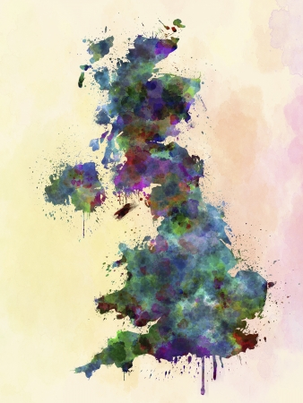england map: United Kingdom map watercolor style splash with clipping path only map and splattered Stock Photo