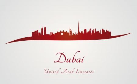 편집 가능한 벡터 파일에 빨간색과 회색 배경에있는 두바이의 스카이 라인