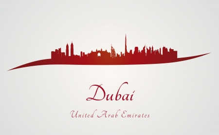Dubai skyline in red and gray background in editable vector file Vector