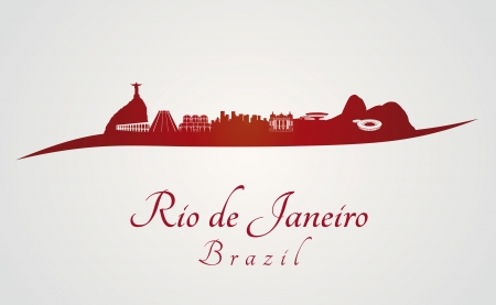 Rio de Janeiro skyline in red and gray background in editable vector file Vector