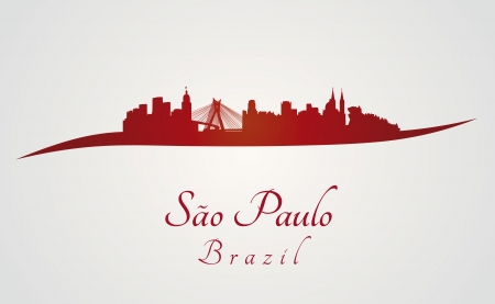 Sao Paulo skyline in red and gray background in editable vector file