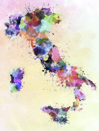 italy map: Italy map watercolor style splash=