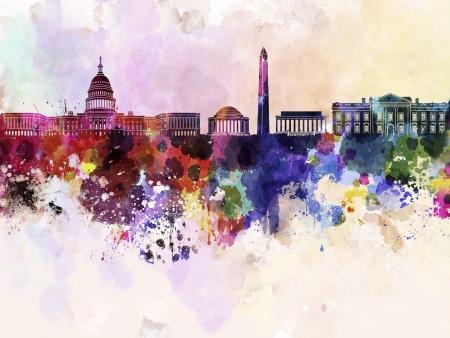 水彩背景でワシントン DC のスカイライン 写真素材