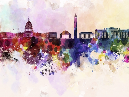 arte abstrata: Horizonte de Washington DC no fundo da aguarela