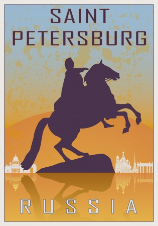 saint petersburg: Saint Petersburg vintage poster in orange and blue textured background with skyiline in white Illustration
