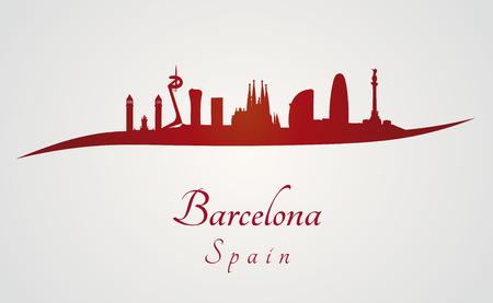 赤と灰色の編集可能なベクトル ファイルでバルセロナのスカイライン  イラスト・ベクター素材