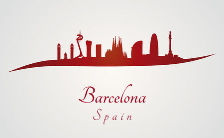 Barcelona skyline in red and gray in editable vector file Illustration