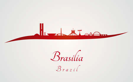 southamerica: Brasilia skyline in red and gray in editable vector file Illustration