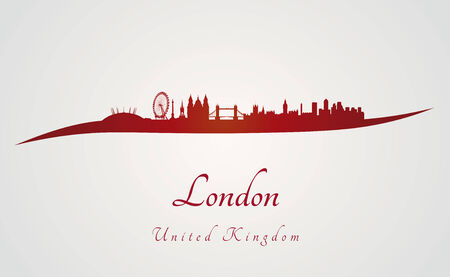 london skyline: London skyline in red and gray in editable vector file