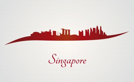 city  buildings: Singapore skyline in red and gray in editable vector file