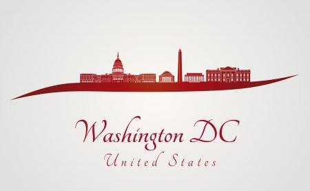 편집 가능한 벡터 파일에 빨간색과 회색 워싱턴 DC 스카이 라인