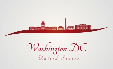 Washington DC skyline in red and gray in editable vector file