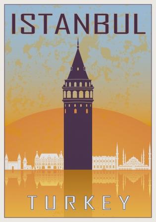 locandina arte: Istanbul manifesto d'epoca in arancione e blu con texture con skyline in bianco Vettoriali