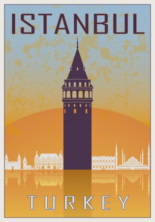 turkey istanbul: Istanbul vintage poster in orange and blue textured with skyline in white Illustration