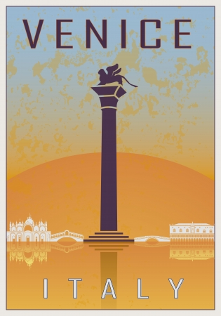 retro backgrounds: Venice vintage poster in orange and blue textured with skyline in white Illustration