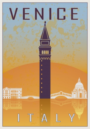 Venice vintage poster in orange and blue textured with skyline in white Vector