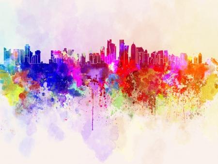 doha: Doha skyline in watercolor  Stock Photo