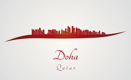 qatar: Doha skyline in red and gray in editable vector file