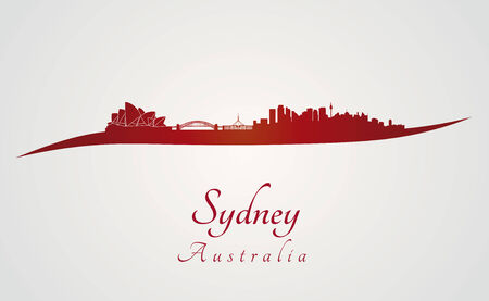 sydney: Sydney skyline in red and gray in editable vector file