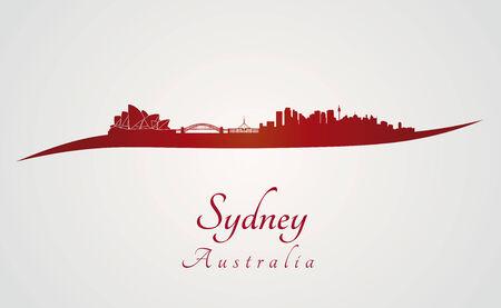 sydney skyline: Sydney skyline in red and gray in editable vector file
