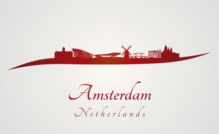 amsterdam: Amsterdam skyline in red and gray in editable vector file