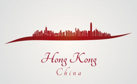 hong kong: Hong Kong skyline in red and gray in editable vector file