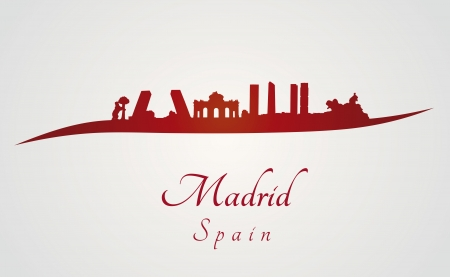 Madrid skyline in red and gray in editable vector file Illustration
