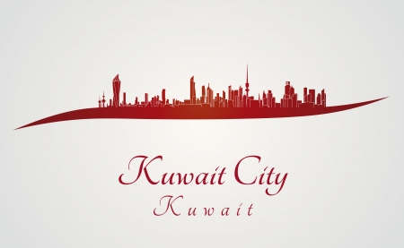 Kuwait City skyline in red and gray background in editable vector file Vector