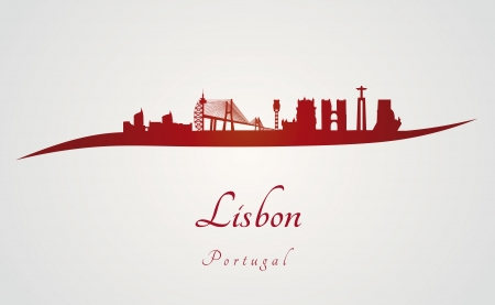 Lisbon skyline in red and gray background in editable vector file