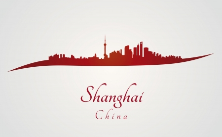 Shanghai skyline in red and gray background in editable vector file