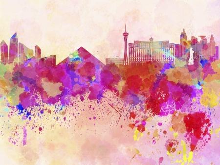 vegas: Las Vegas skyline in watercolor background