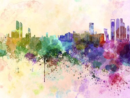 Abu Dhabi skyline in watercolor background