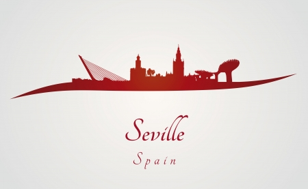seville: Seville skyline in red and gray background in editable vector file
