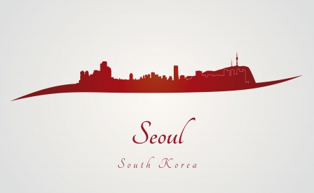 seoul: Seoul skyline in red and gray background in editable vector file