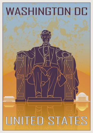 Washington DC vintage poster in orange and blue textured background with skyline in white Vector