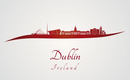 dublin: Dublin skyline in red and gray background in editable vector file Illustration