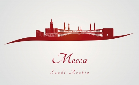 Mecca skyline in red and gray background in editable vector file Vector