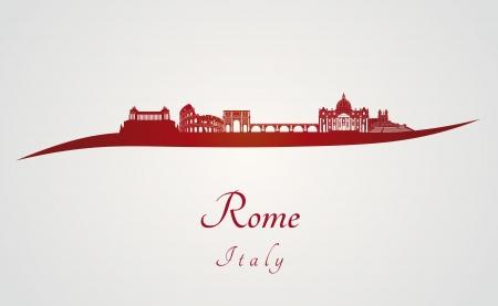 編集可能なベクトル ファイル内の赤と灰色の背景でローマのスカイライン