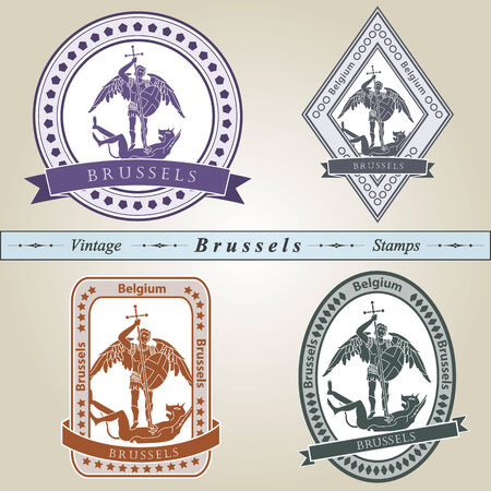 brussels: Vintage stamp from Brussels in four colors editable vector file