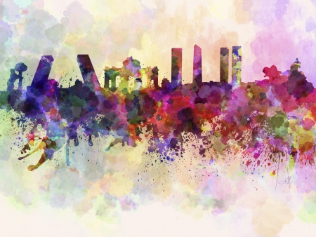 水彩背景でマドリードのスカイライン 写真素材